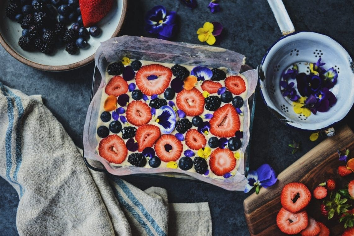 Fare Isle | Vegan Berries & Cream Slice Cake