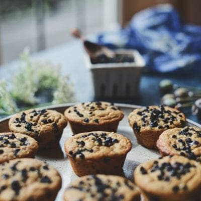 Vegan Wild Blueberry & Huckleberry Muffins