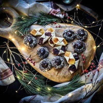 Vegan Chocolate Hazelnut Thumbprint Cookies with Mocha Ganache