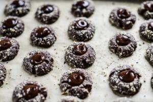 Fare Isle | Vegan Chocolate Hazelnut Thumbprint Cookies