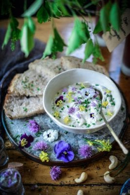 3 Ways to Use Edible Chive Blossoms: Chive Blossom Vinegar, Finishing Salt & Cultured Cashew Cheese