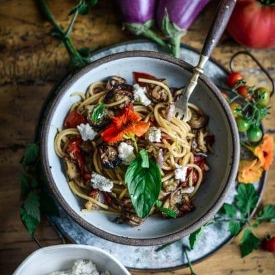 Vegan Pasta alla Norma (Crispy Eggplant Pasta)