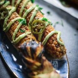 Fare Isle | Vegan Street Corn - Elotes with Avocado Aioli
