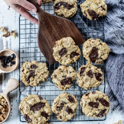 Vegan Chocolate Chunk Cranberry Walnut Cookies