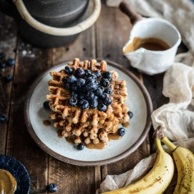 Vegan Peanut Butter Roasted Banana Waffles