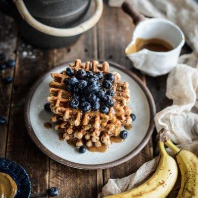 Vegan Peanut Butter Roasted Banana Waffles