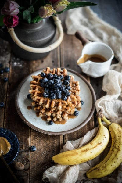 Fare Isle | Vegan Peanut Butter Roasted Banana Waffles