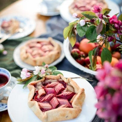 Vegan Strawberry Rhubarb Frangipane Galettes