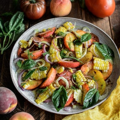 Summer Tomato Corn and Peach Salad