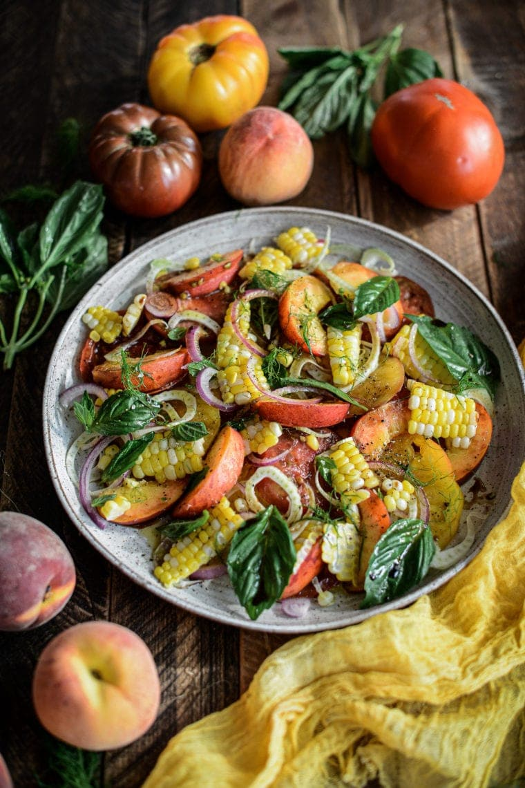 Fare Isle | Summer Tomato Corn and Peach Salad
