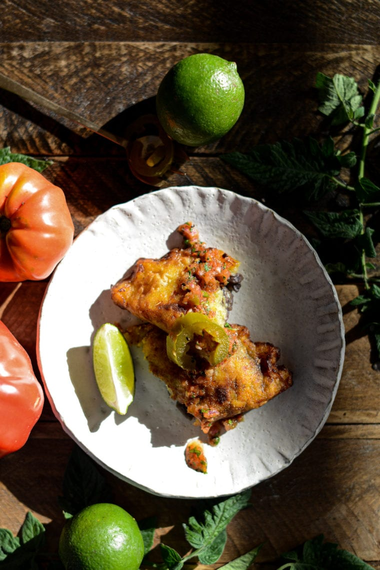Fare Isle | Plantain Empanadas with Green Chile Black Bean Filling and Spicy Jalapeño Fire Roasted Tomato Salsa