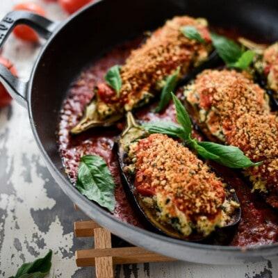 Baked Vegan Ricotta and Kale Stuffed Baby Eggplant with Thyme Pangritata