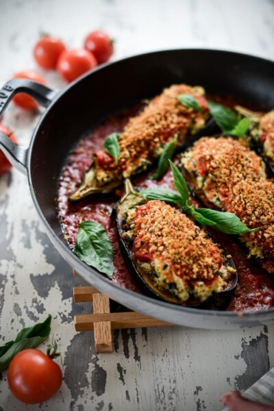 Fare Isle | Baked Vegan Ricotta and Kale Stuffed Baby Eggplant with Thyme Pangritata
