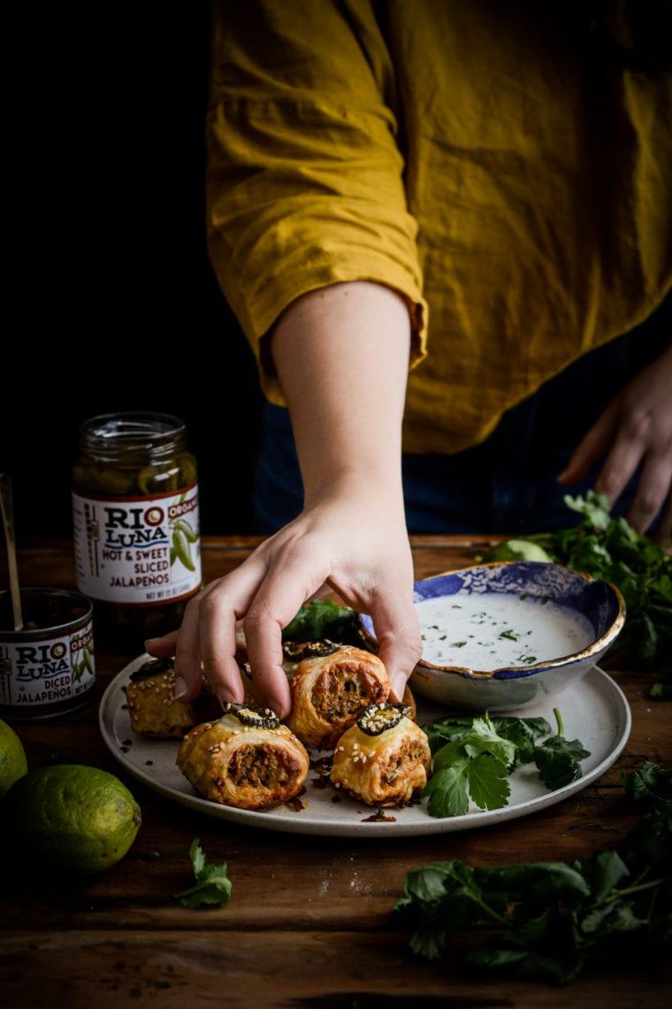 Fare Isle | Vegetarian Jalapeño Cheddar Sausage Rolls