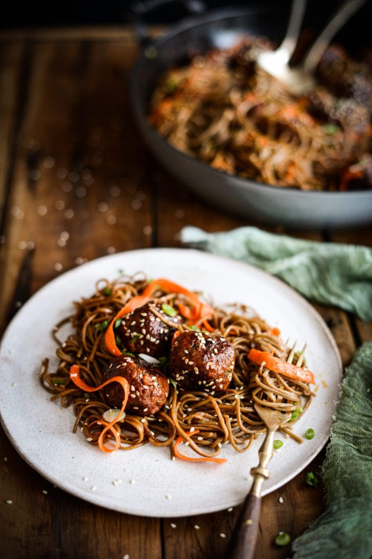 Plant-based Korean Chili Meatball Noodles | Fare Isle