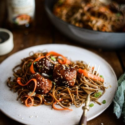 Plant-based Spicy Korean Meatball Noodles