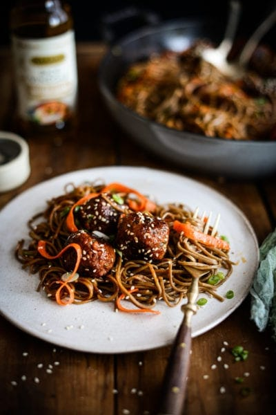Plant-based Korean Chile Meatball Noodles | Fare Isle