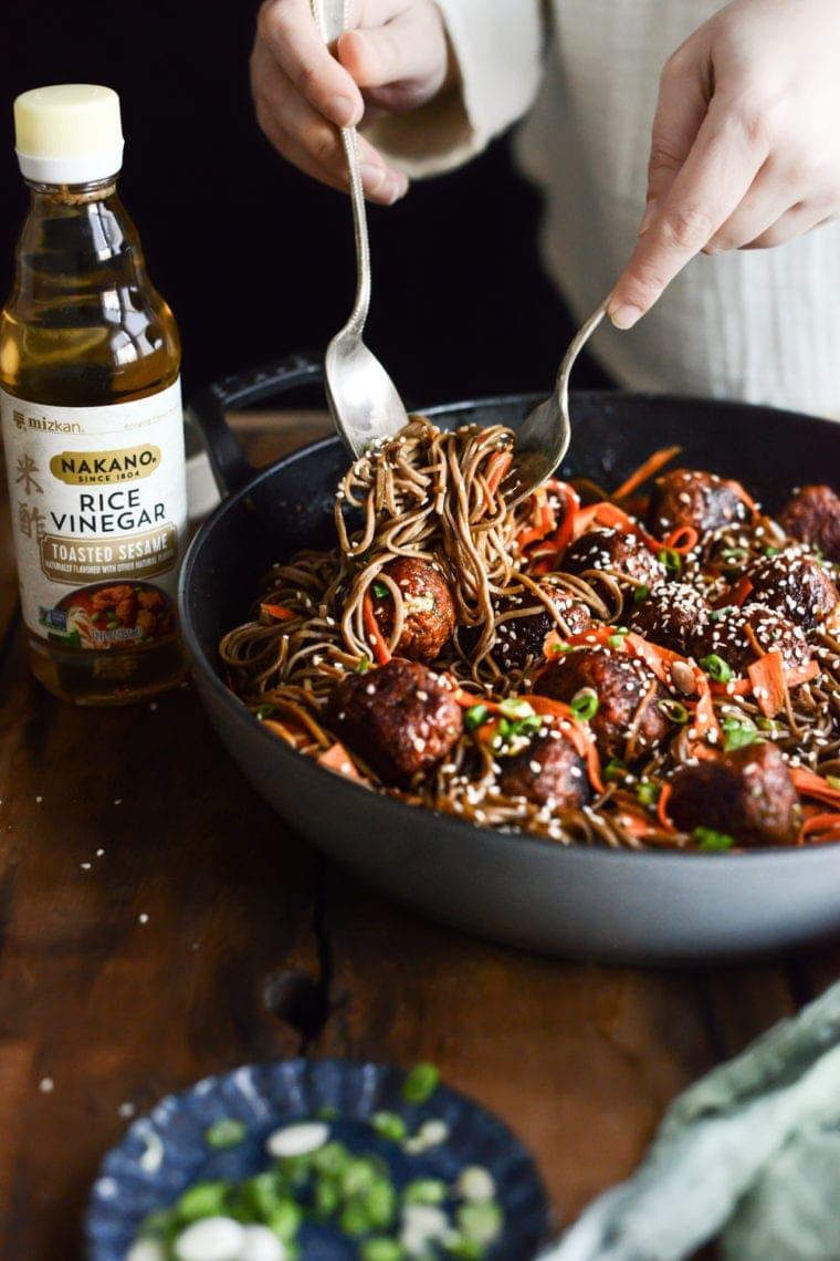 Plant-based Korean Chile Meatball Noodles | Fare Isle