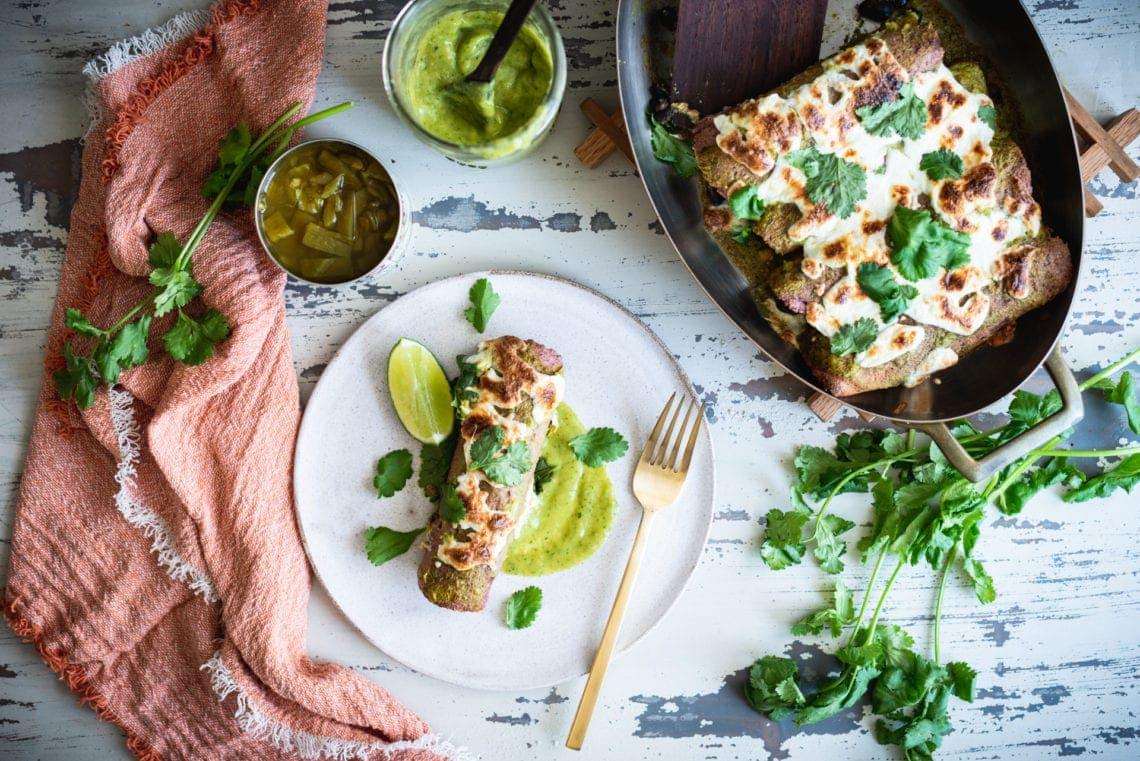 Fare Isle | Black Bean Enchiladas with Green Chile Sauce