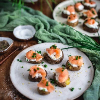 Crispy Smashed Potato and Smoked Salmon Bites
