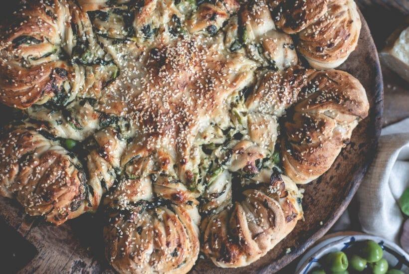 Artichoke Olive and Spinach Stuffed Sourdough Star Bread | Fare Isle