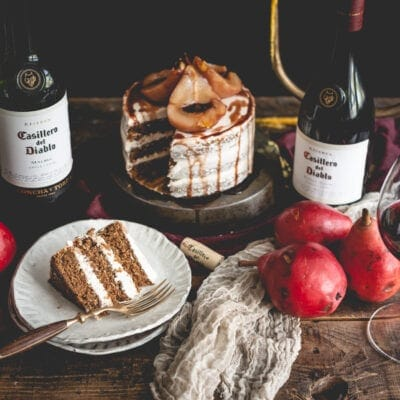 Maple Spice Cake with Wine Poached Pears