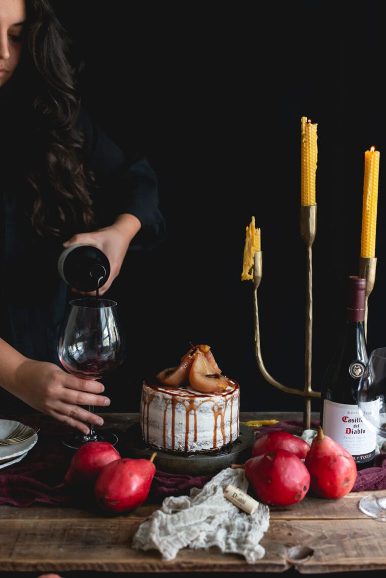 Maple Spice Cake with Wine Poached Pears | Fare Isle