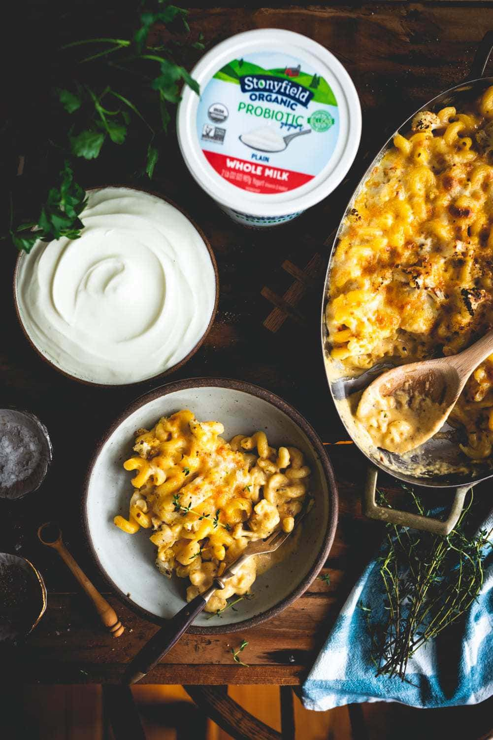 Yogurt Mac and Cheese with Roasted Cauliflower