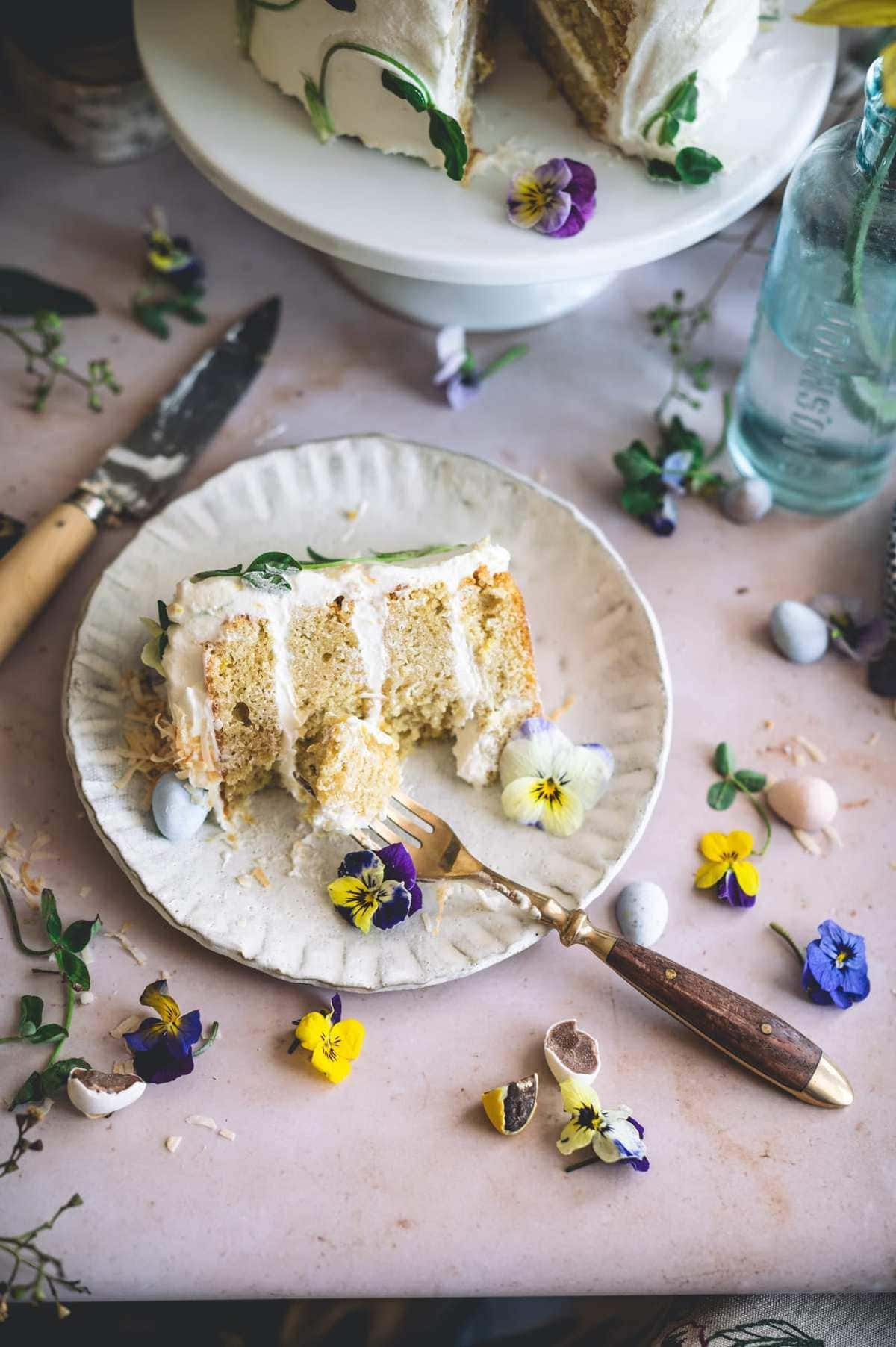 Lemon Coconut Cake with Cream Cheese Frosting