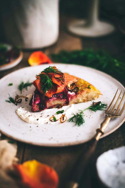 Swiss Rösti with Smoked Salmon and Beetroot Salad