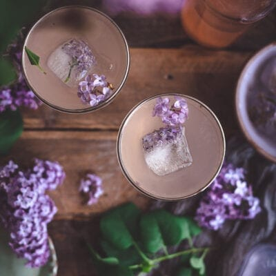 Lilac Gin Fizz Cocktail